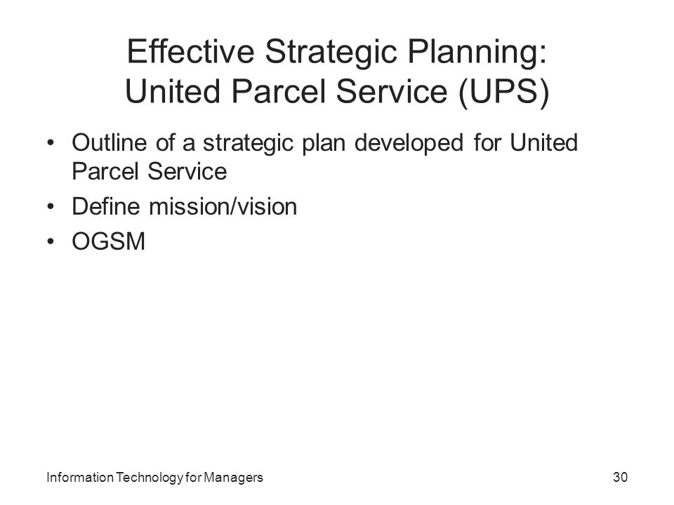 strategic planning at ups case summary Opening case general electric: united parcel service (ups) strategic management- chapter six last modified by: chris caire.