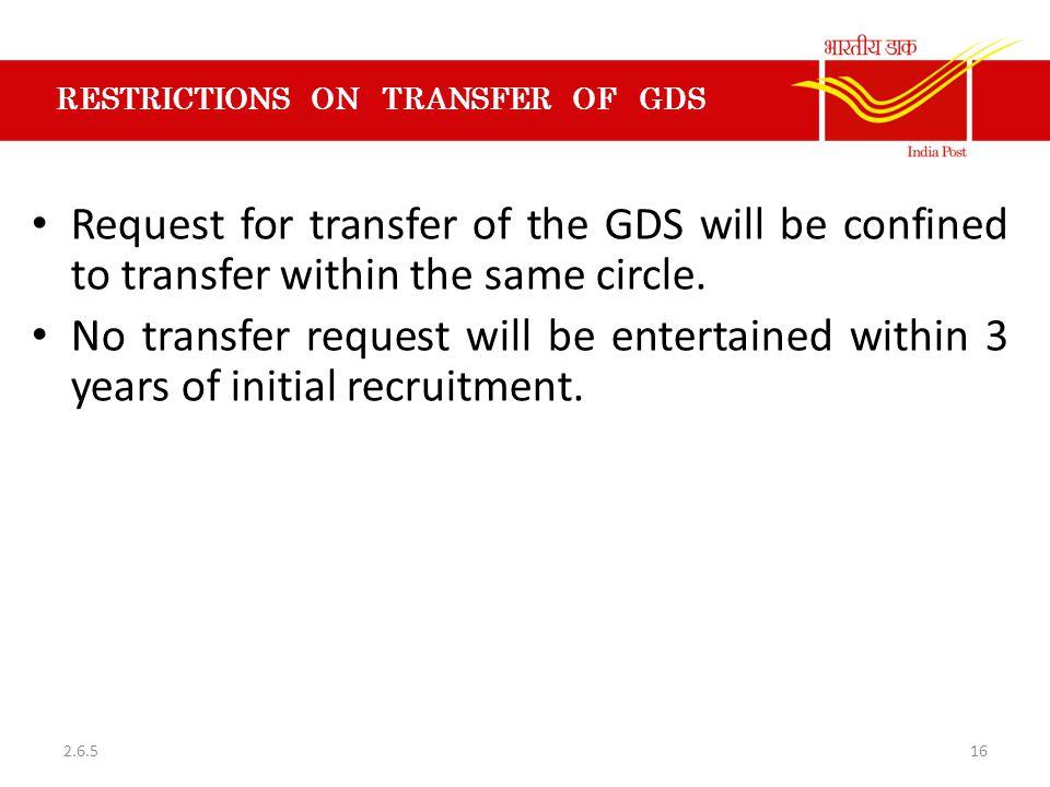 RESTRICTIONS ON TRANSFER OF GDS