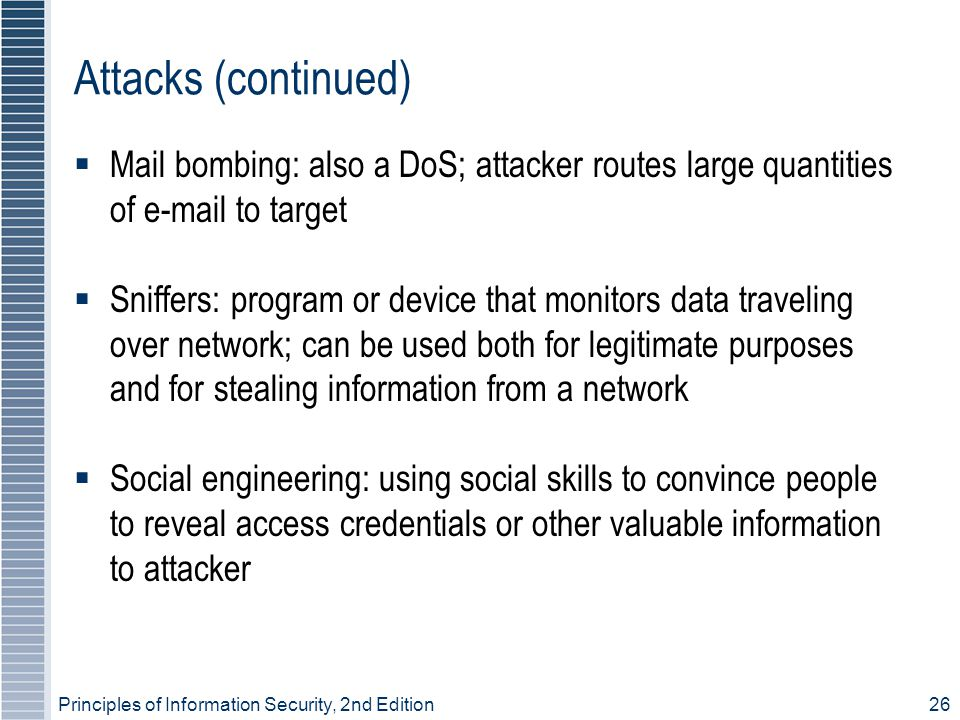 Threats and Attacks Principles of Information Security, 2nd ...
