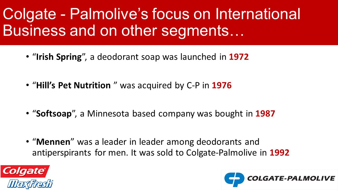 colgate palmolive international business strategy Colgate palmolive has 35900 employees across 20 locations and revenue was $1545 b in fy, 2017 see insights on colgate palmolive including competitors, office locations, financials, executives, subsidiaries, news, trends and more.