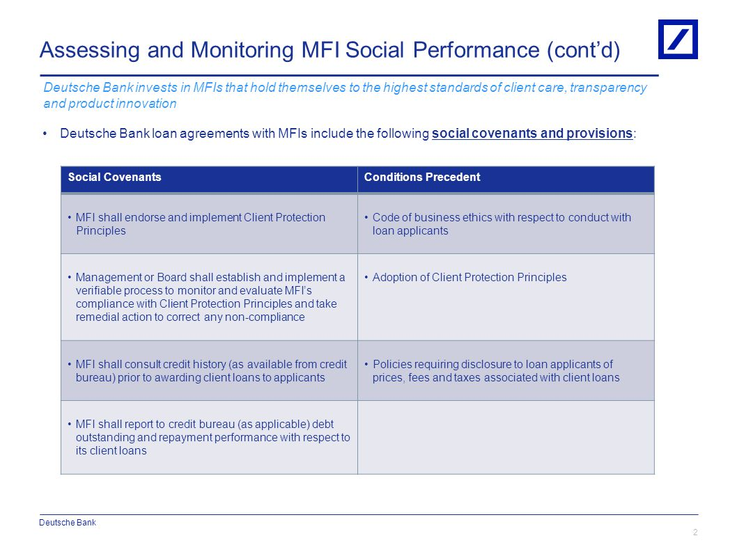 Assessing and Monitoring MFI Social Performance (cont'd)