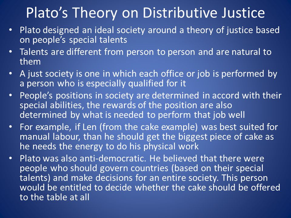 Plato's Theory on Distributive Justice