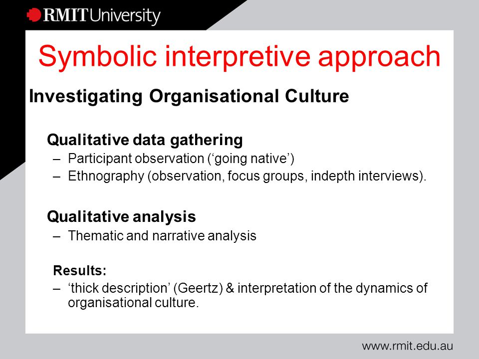 symbolic interpretive perspective The howard university department of art takes a  meanings based on the symbolic interaction of  interpretive perspective to theory development.