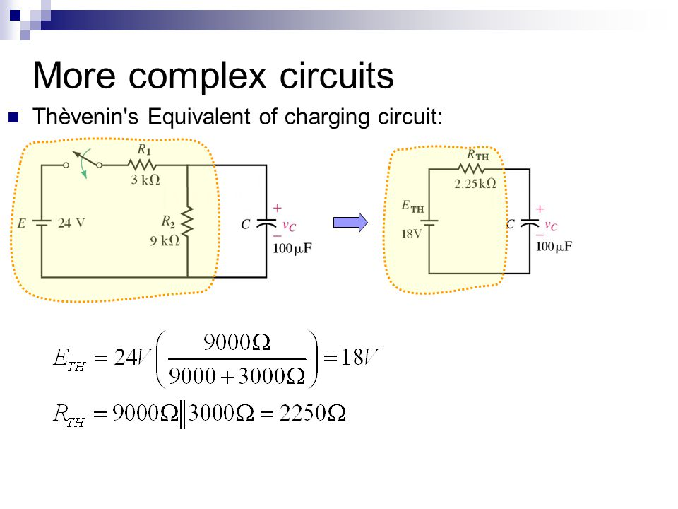More complex circuits Thèvenin s Equivalent of charging circuit: