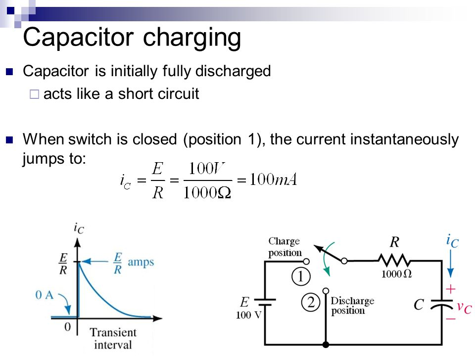 Capacitor charging Capacitor is initially fully discharged