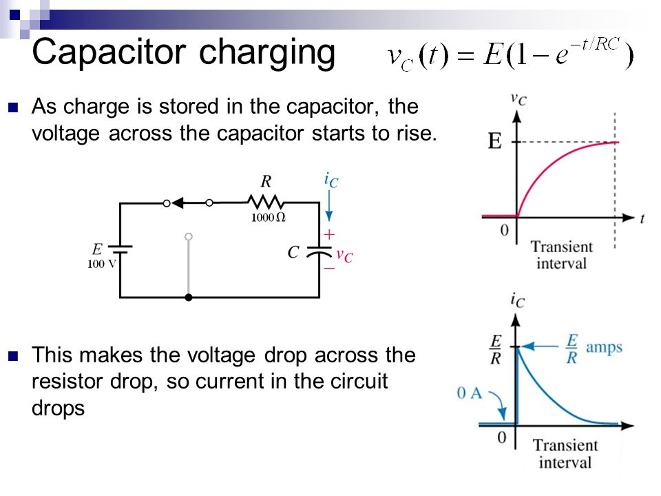 Capacitor charging As charge is stored in the capacitor, the voltage across the capacitor starts to rise.