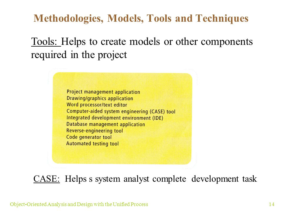 Methodologies, Models, Tools and Techniques