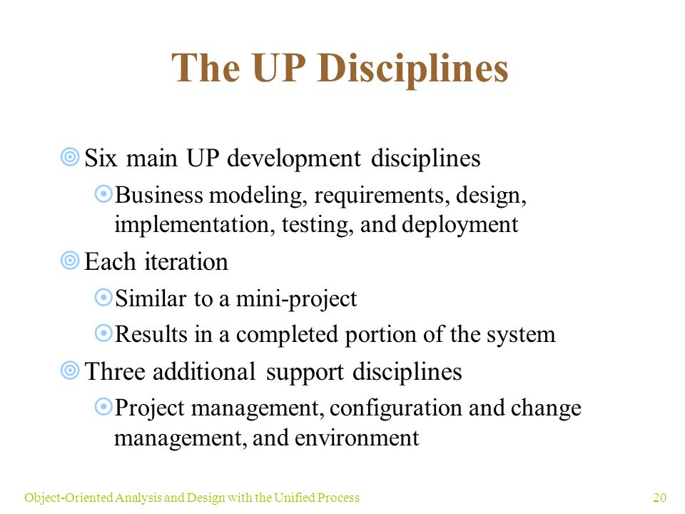 The UP Disciplines Six main UP development disciplines Each iteration