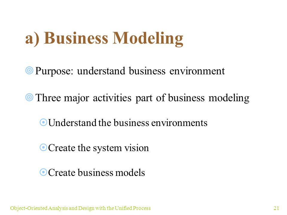 a) Business Modeling Purpose: understand business environment