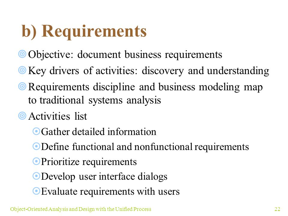 b) Requirements Objective: document business requirements