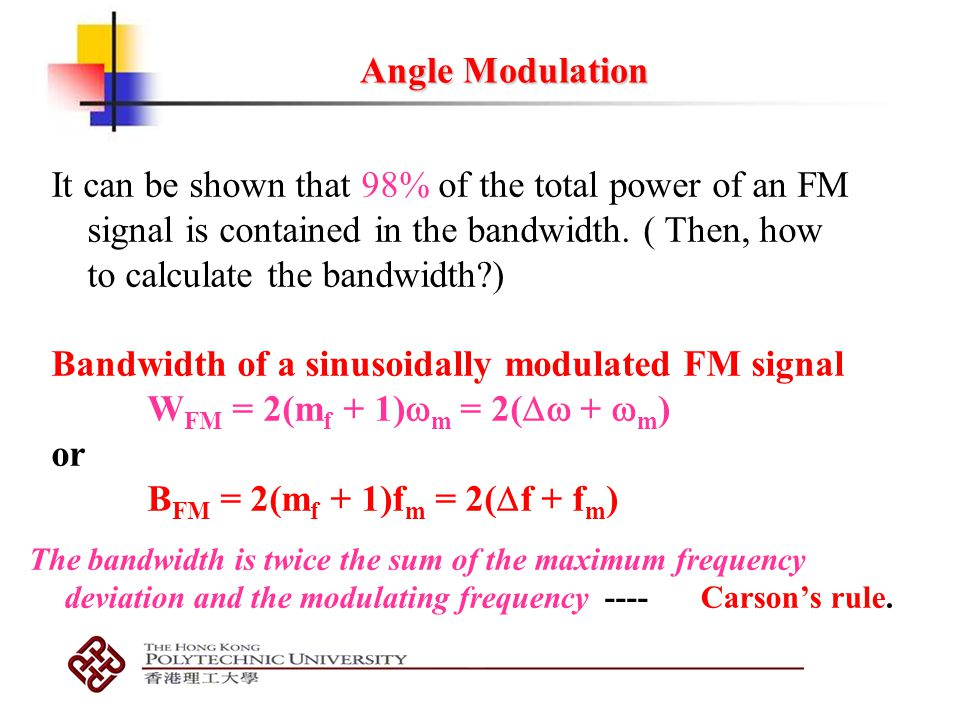 Bandwidth of a sinusoidally modulated FM signal