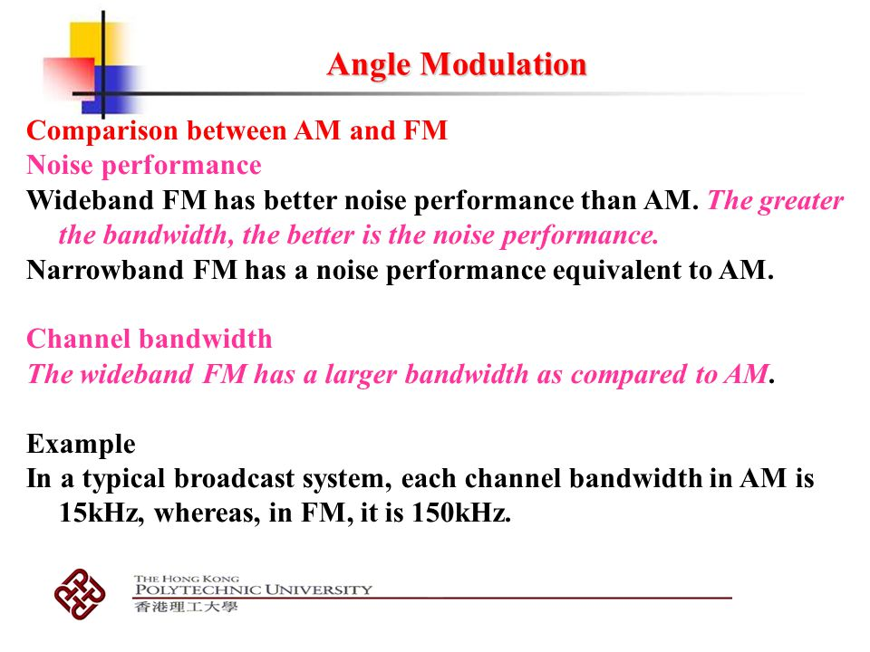 Angle Modulation Comparison between AM and FM Noise performance