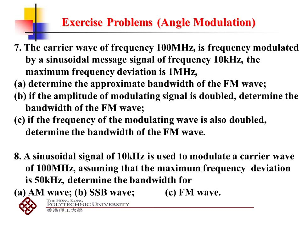 Exercise Problems (Angle Modulation)
