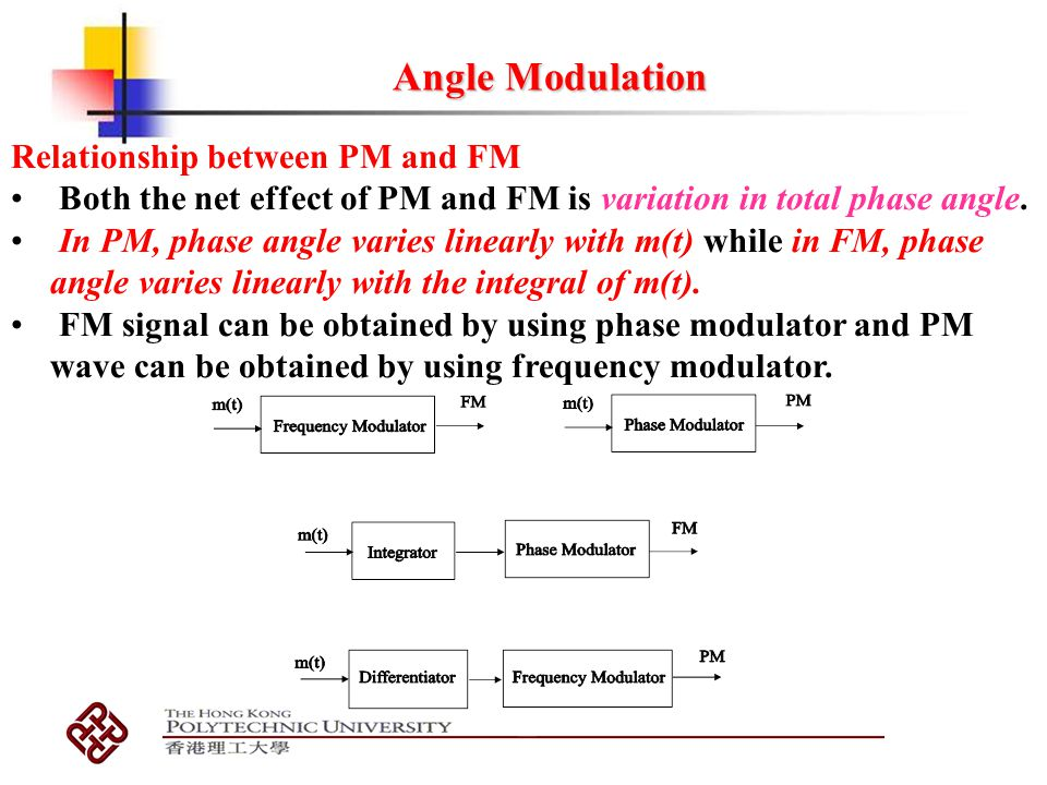Angle Modulation Relationship between PM and FM