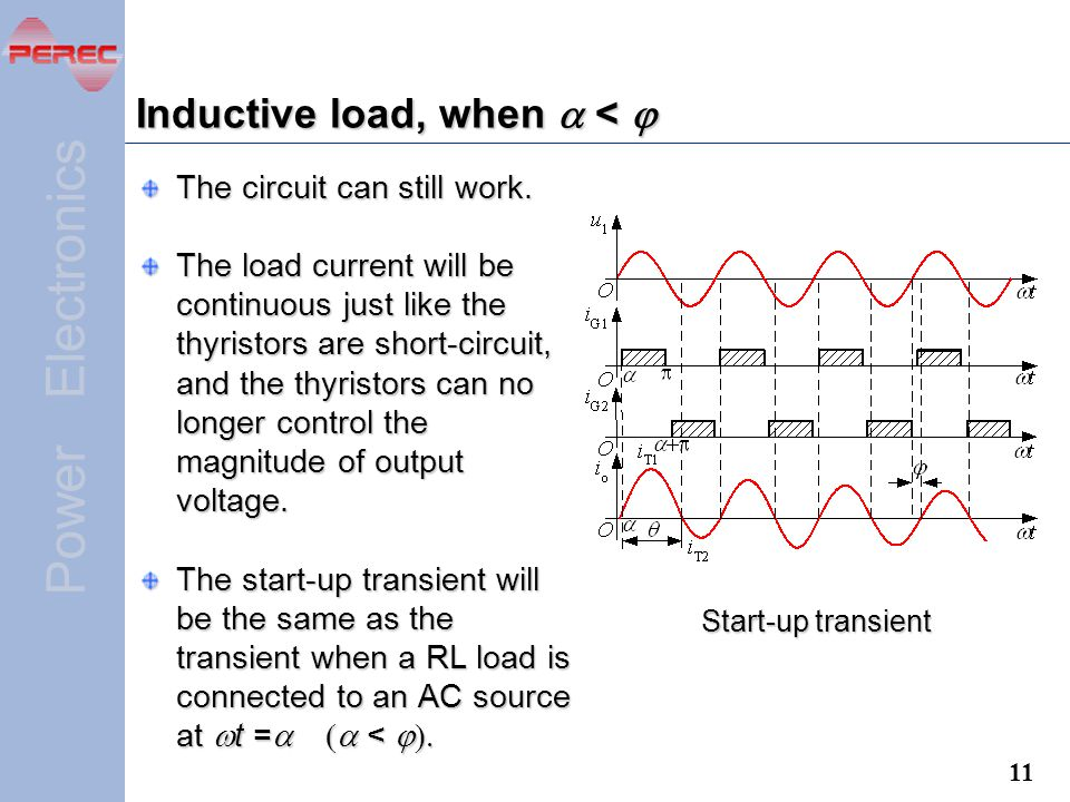 Inductive load, when a < 