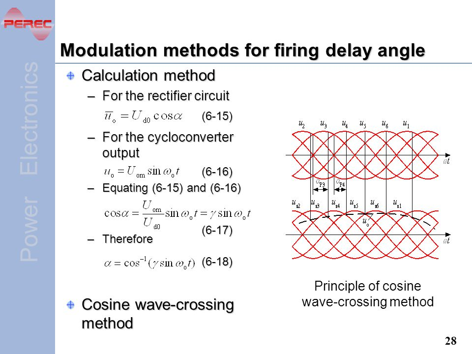 Modulation methods for firing delay angle