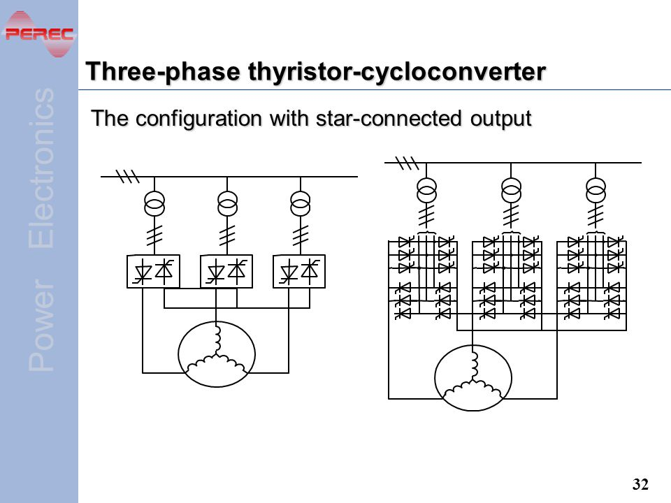 Three-phase thyristor-cycloconverter