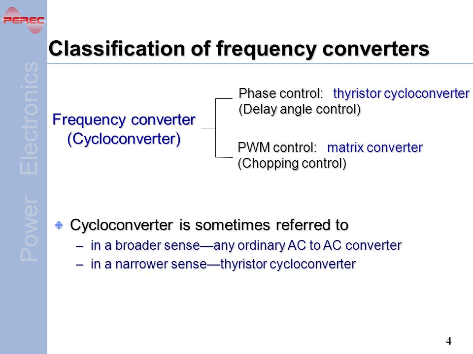 Classification of frequency converters