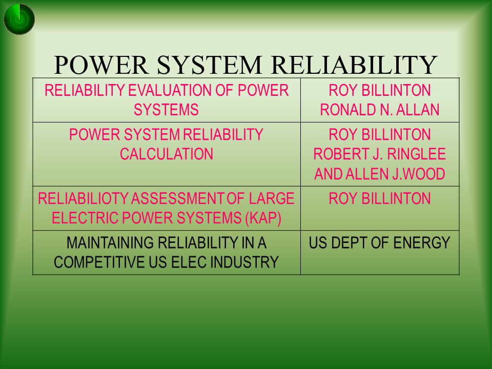 reliability evaluation of bangladesh power system Power-system reliability calculations by roy billinton, robert ringlee and allen j wood overview it then takes up models for generation planning and proceeds to the area of bulk power supply system reliability evaluation.
