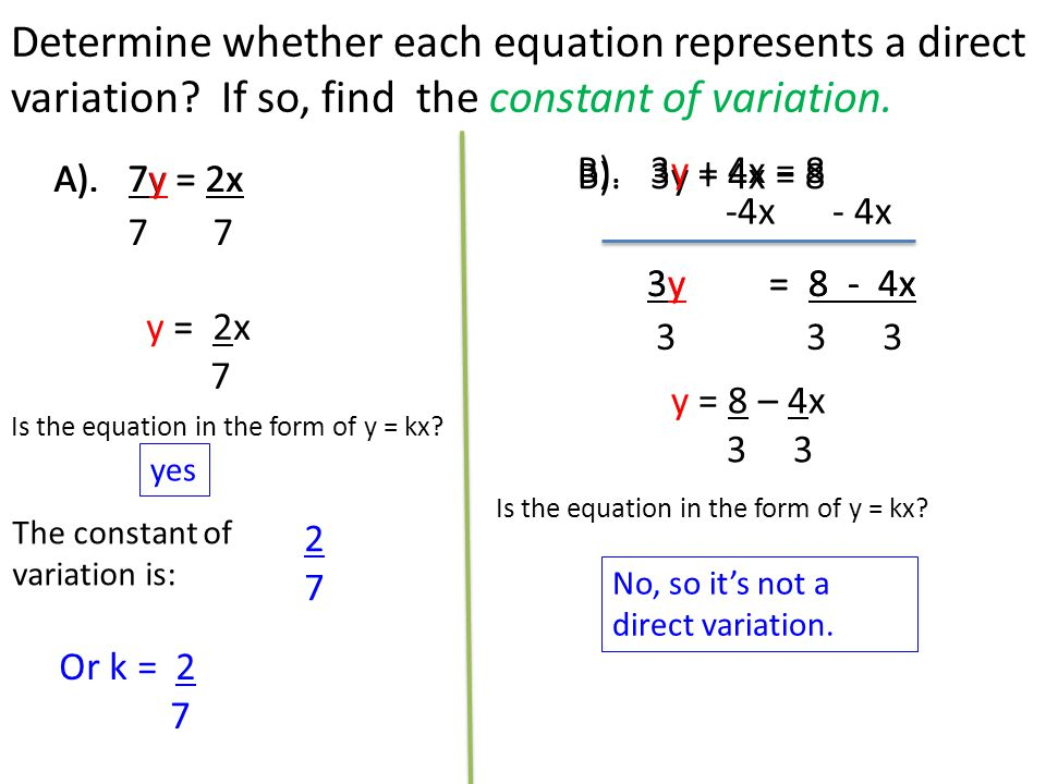 How to write a direct variation equation with coordinates