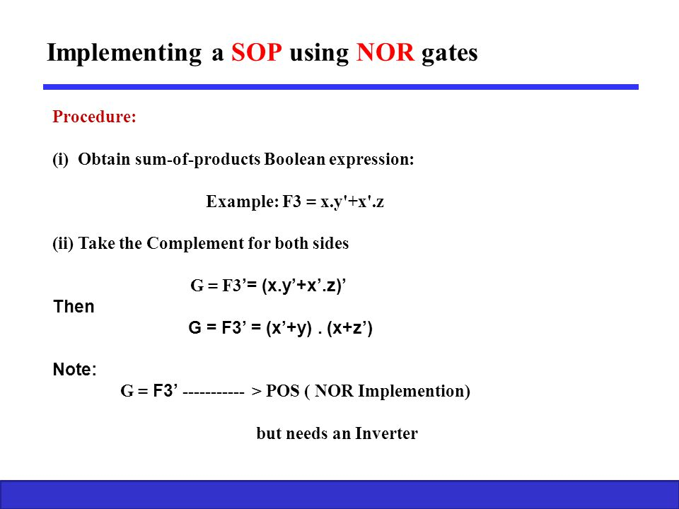 Implementing a SOP using NOR gates
