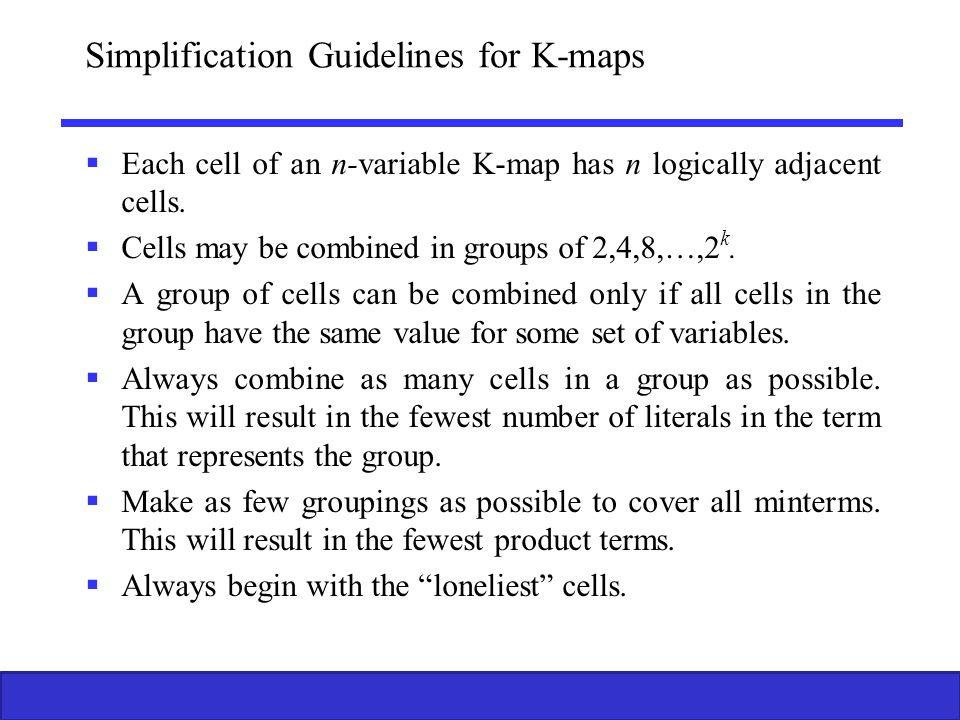 Simplification Guidelines for K-maps