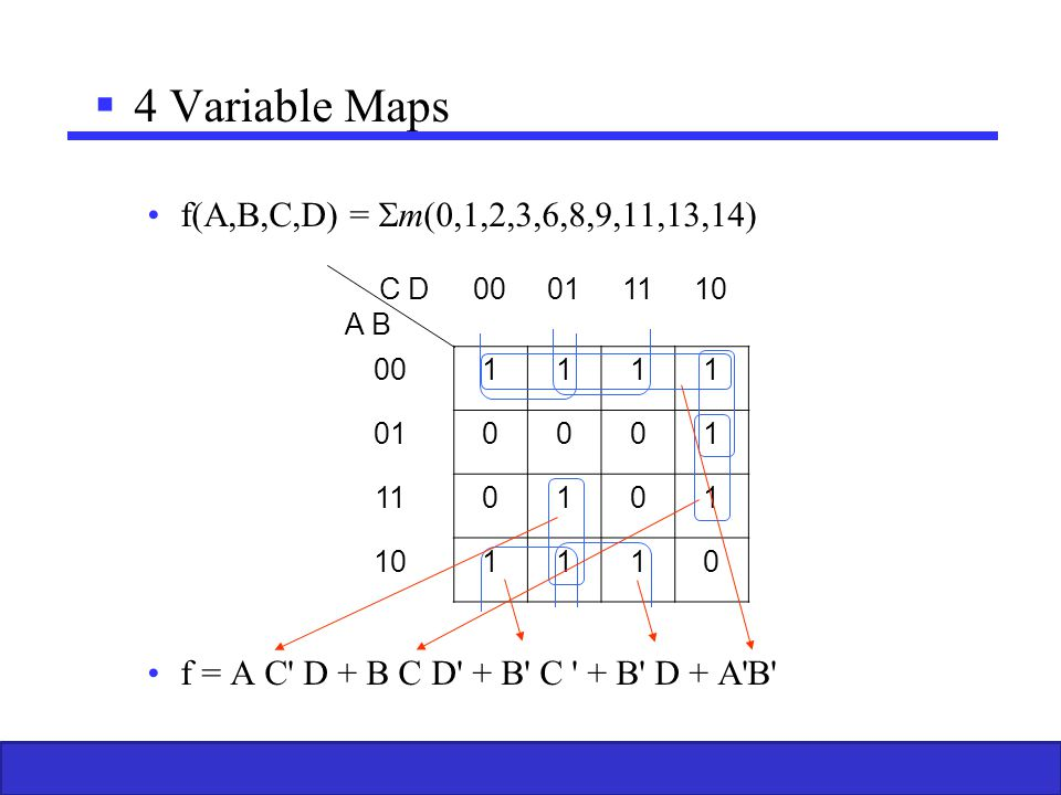 4 Variable Maps f(A,B,C,D) = m(0,1,2,3,6,8,9,11,13,14)