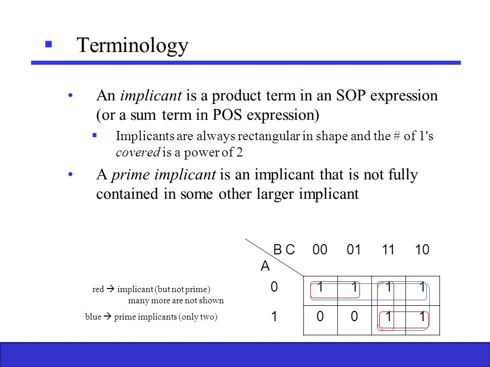 Terminology An implicant is a product term in an SOP expression (or a sum term in POS expression)