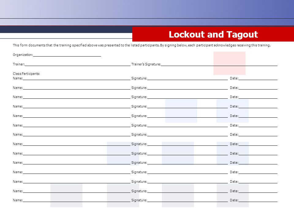 Lockout and Tagout