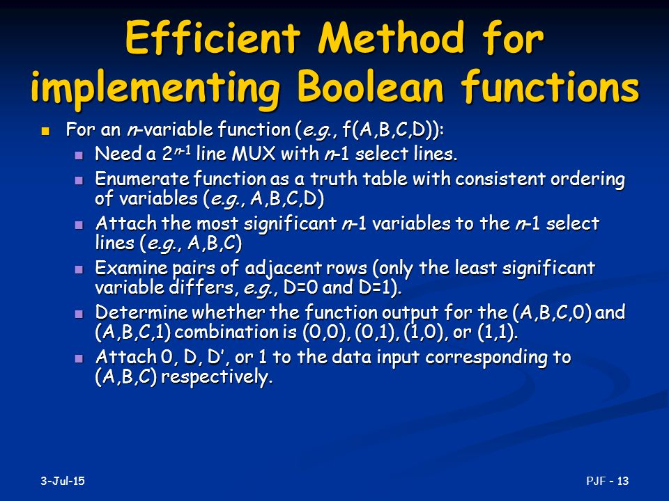 Efficient Method for implementing Boolean functions