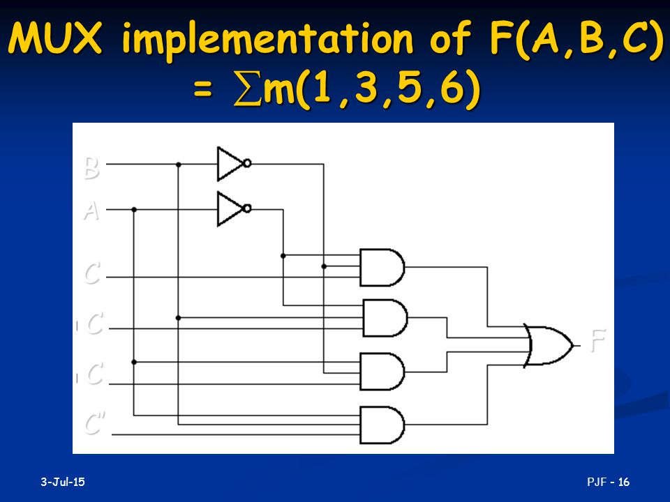 MUX implementation of F(A,B,C) = m(1,3,5,6)