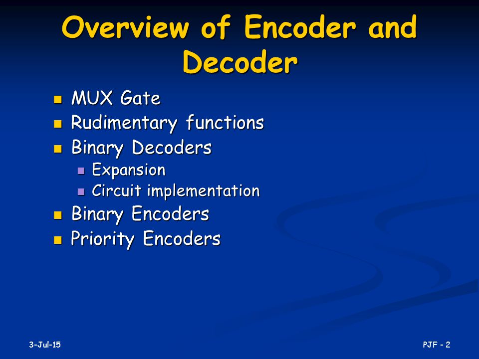 Overview of Encoder and Decoder