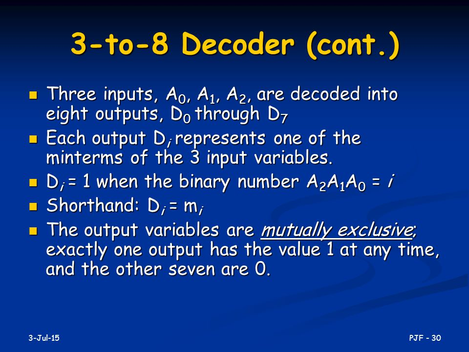 3-to-8 Decoder (cont.) Three inputs, A0, A1, A2, are decoded into eight outputs, D0 through D7.