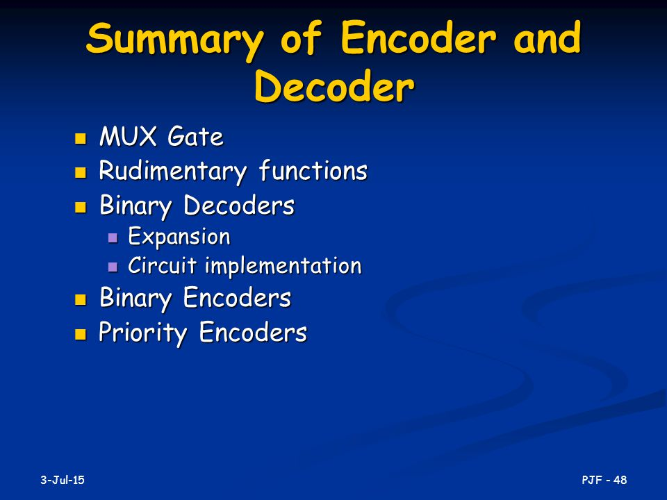 Summary of Encoder and Decoder