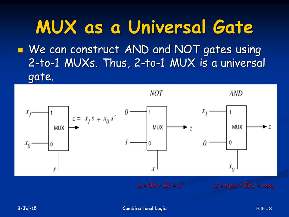 17-Apr-17 MUX as a Universal Gate. We can construct AND and NOT gates using 2-to-1 MUXs. Thus, 2-to-1 MUX is a universal gate.
