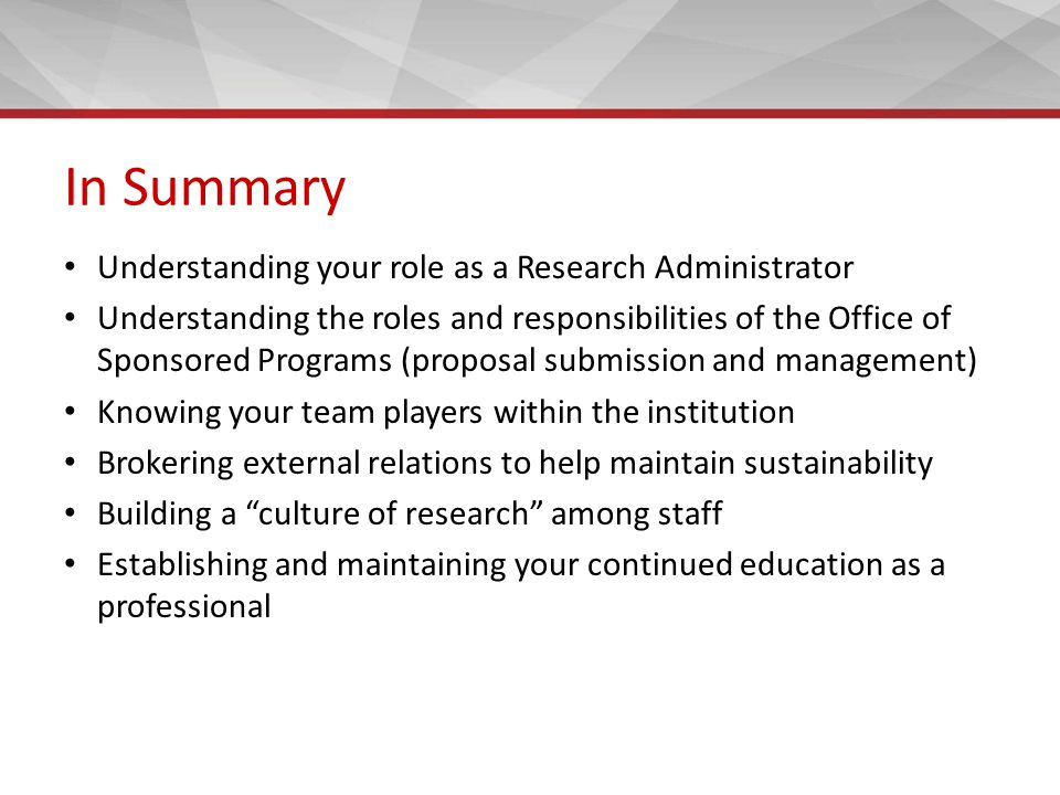 Establishing An Office Of Research And Sponsored Programs Ppt Download