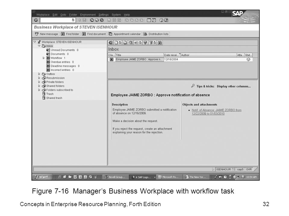Figure 7-16 Manager's Business Workplace with workflow task