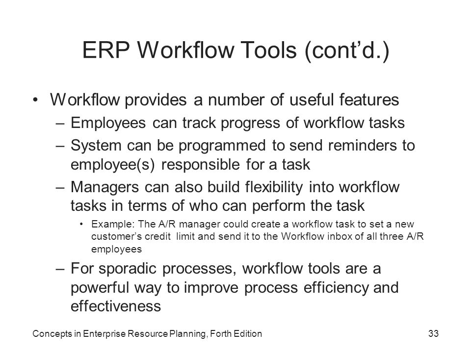 ERP Workflow Tools (cont'd.)