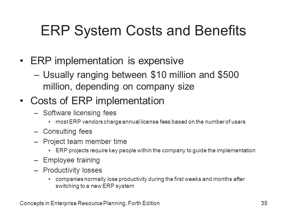 ERP System Costs and Benefits