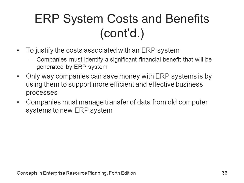 ERP System Costs and Benefits (cont'd.)
