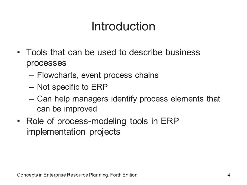 Introduction Tools that can be used to describe business processes