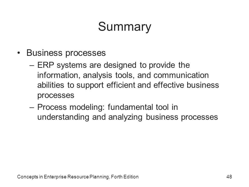 Summary Business processes
