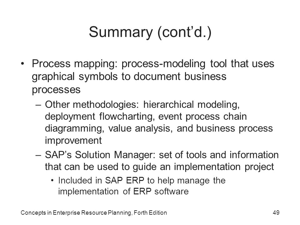 Summary (cont'd.) Process mapping: process-modeling tool that uses graphical symbols to document business processes.