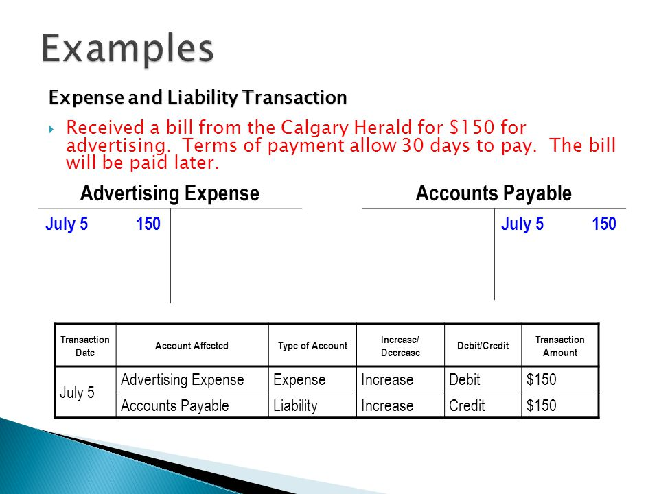 account payable examples