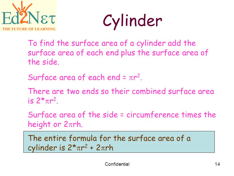 Cylinder To find the surface area of a cylinder add the surface area of each end plus the surface area of the side.