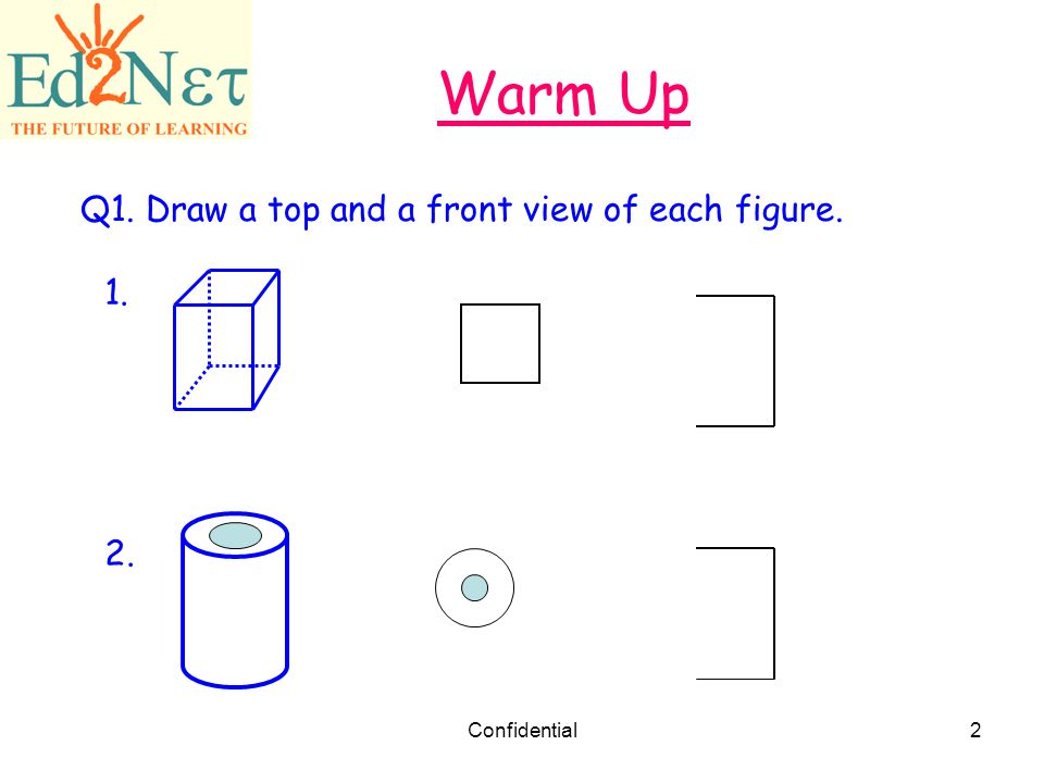 Warm Up Q1. Draw a top and a front view of each figure