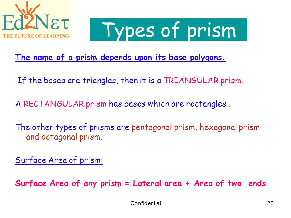 Types of prism The name of a prism depends upon its base polygons.