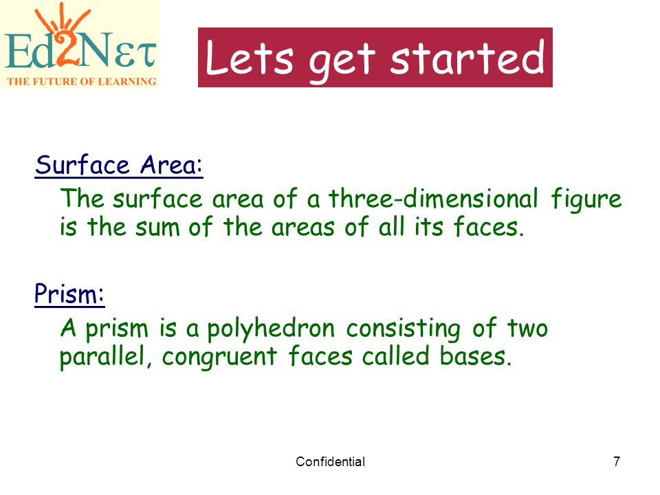 Lets get started Surface Area: