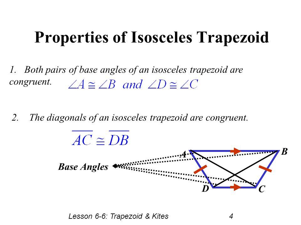 Isosceles Trapezoid Base Angles Lesson 6-6 Trapezoids ...