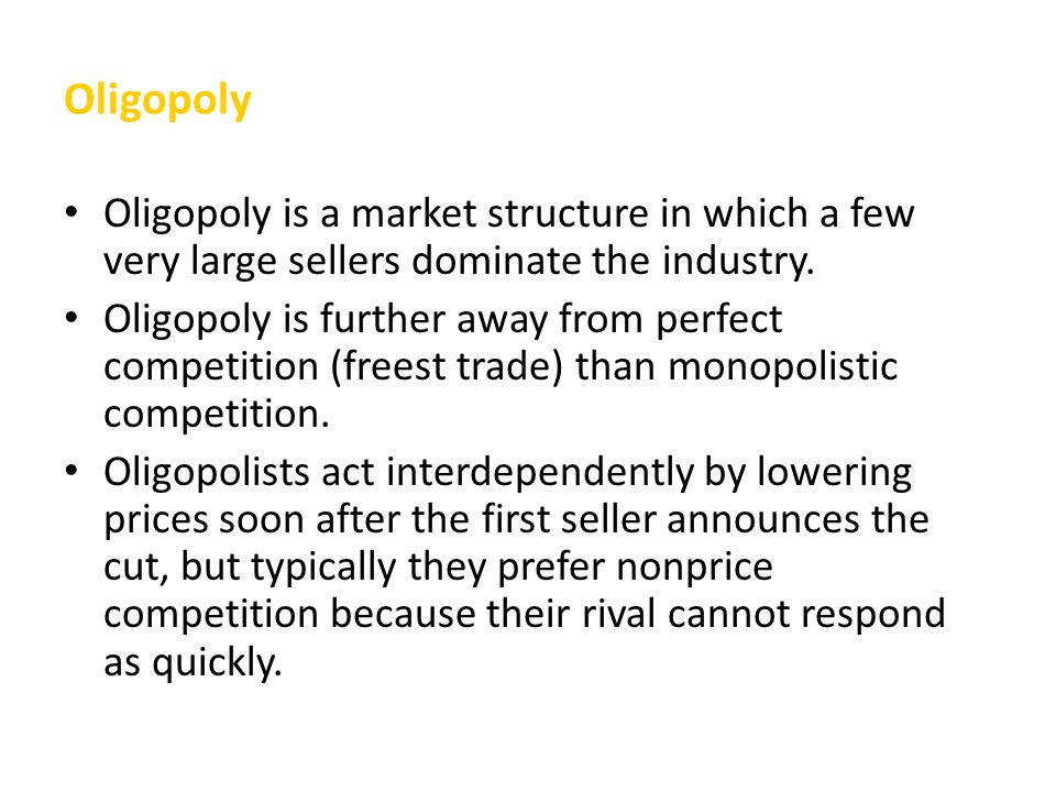 lowes oligopoly market structure Lowes market structure is defined as an oligopoly so competition is limited in from eth 316 at texas southern.